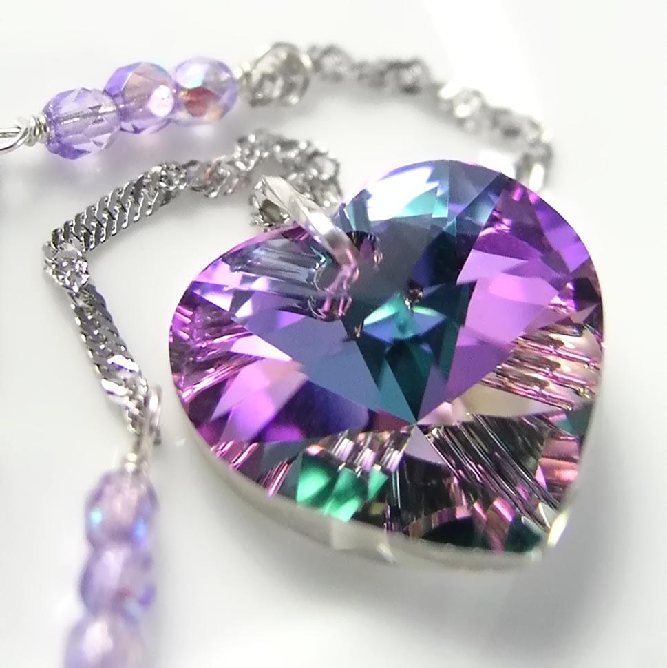 Pink Purple Heart Necklace Sterling Silver Chain Swarovski