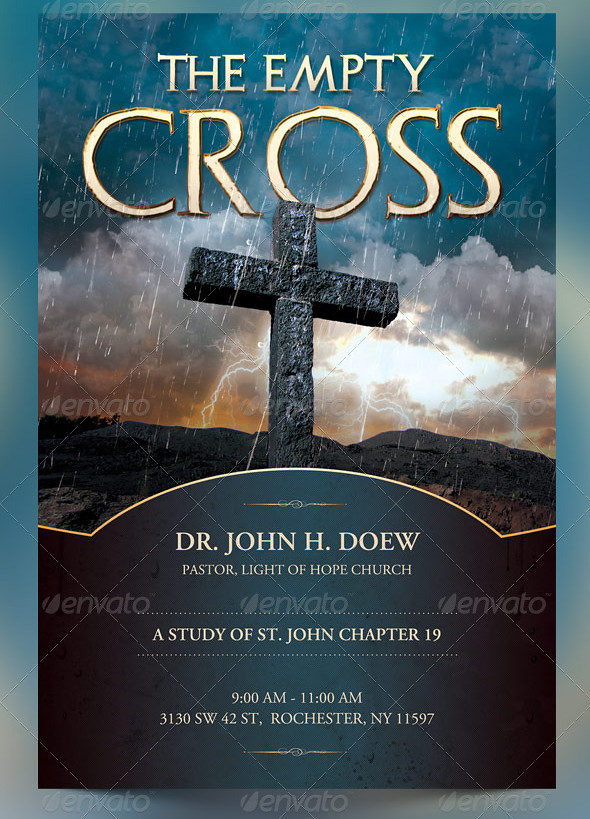 the empty cross church flyer  slide and cd template