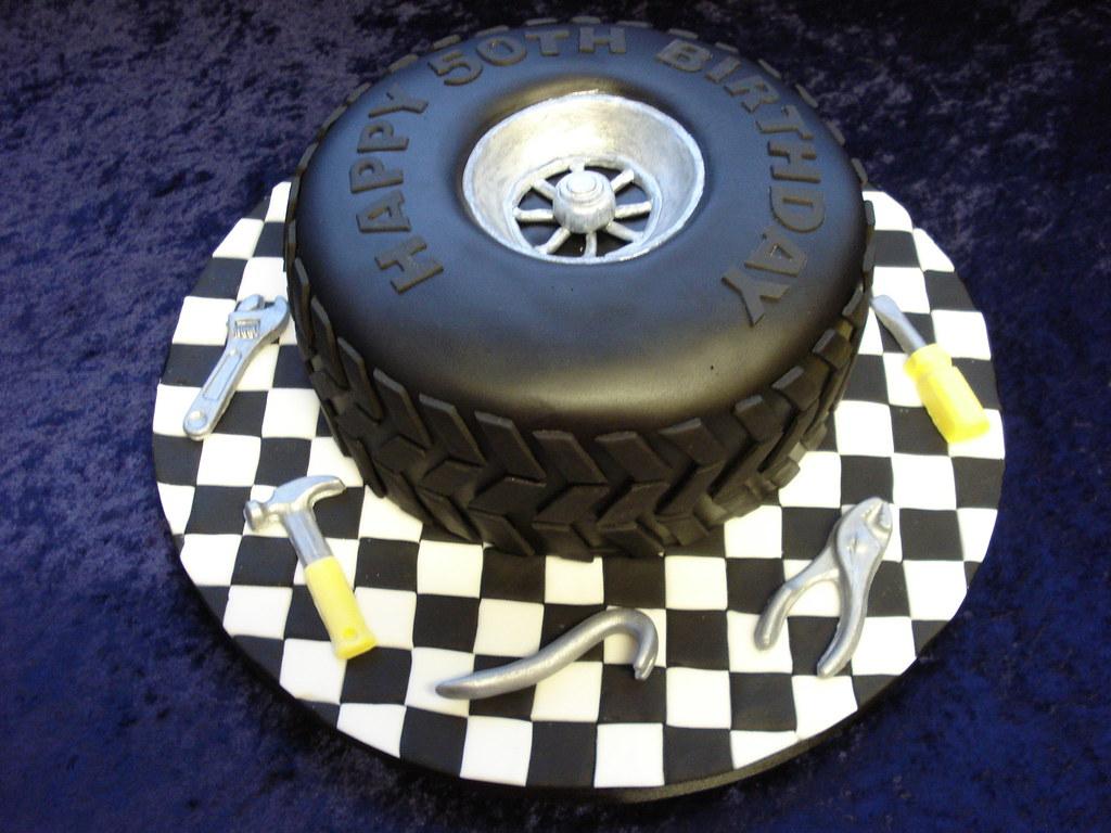 Car Tyre Cake A Cake For A Car Mechanic Really Enjoyed