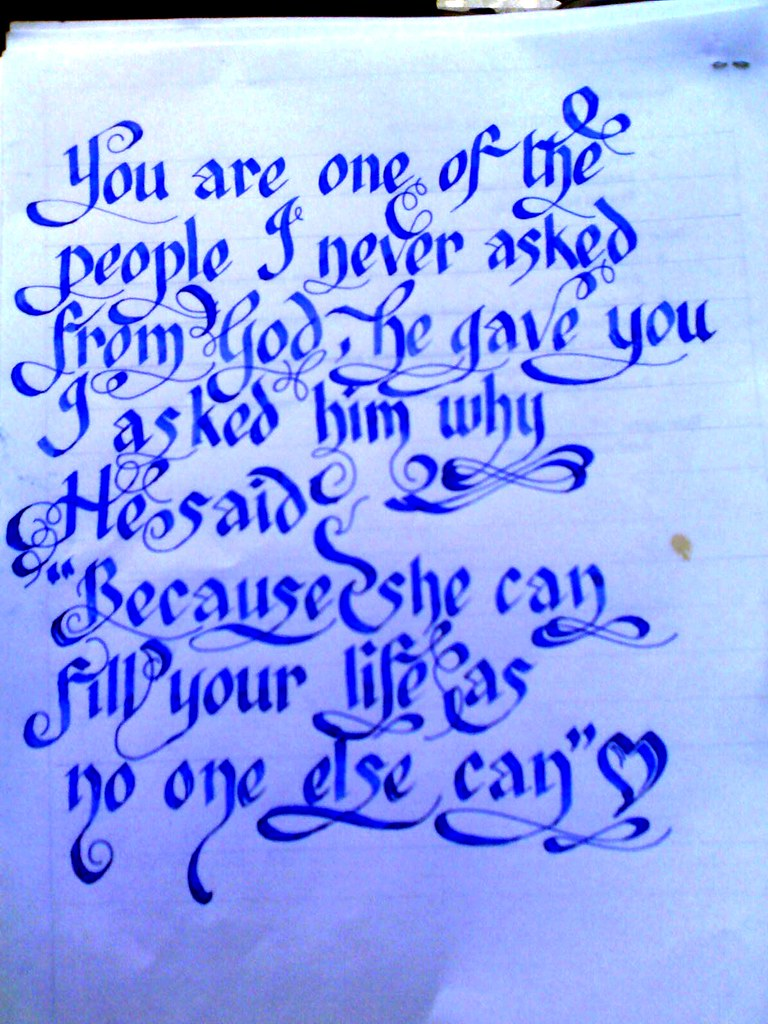 Calligraphy love quote you are on… flickr