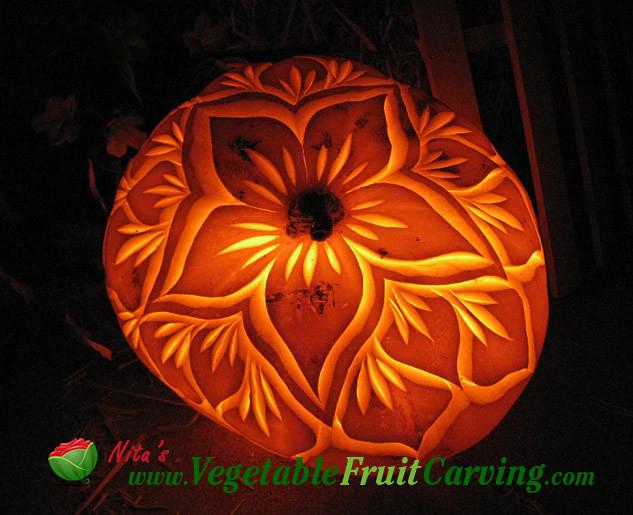 Pumpkin carving flower pretty