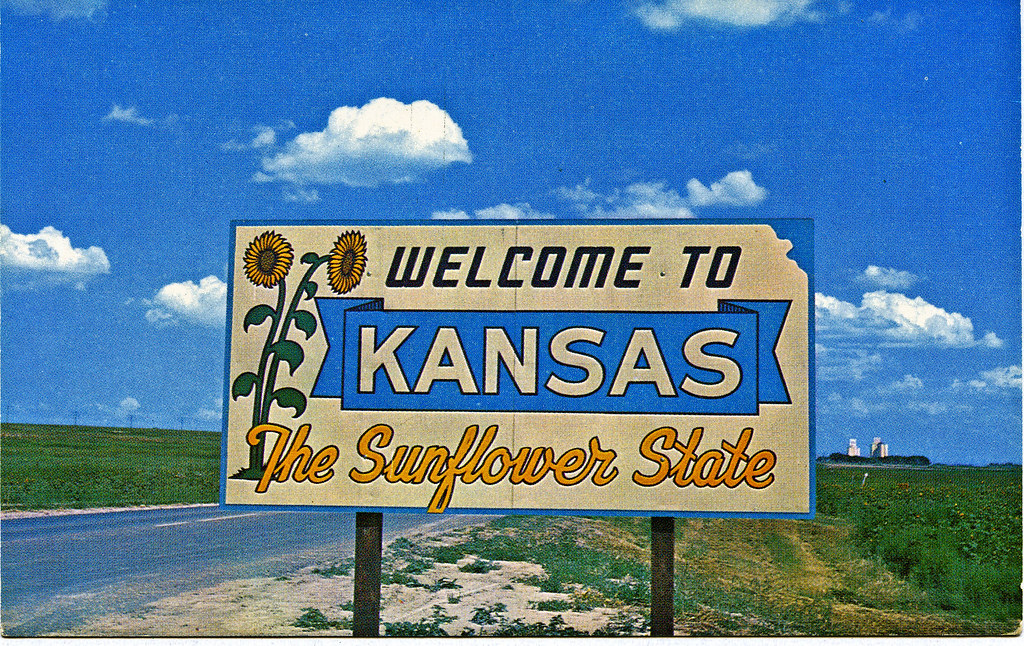 Kansas The Sunflower State Old Post Card Welcome To