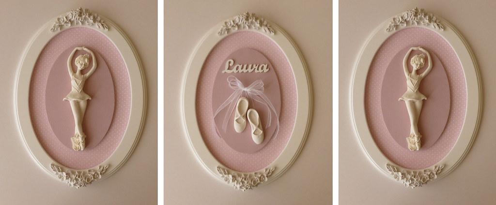 Quadro Para Quarto De Bebe Comprar ~ Quadros Decorativos Bailarina  Trio de quadros para o quart