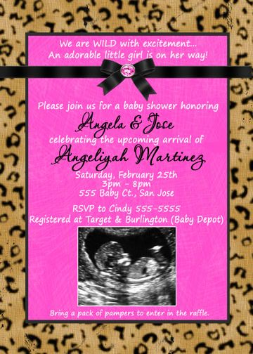 hot pink with leopard cheetah print baby shower invitation flickr