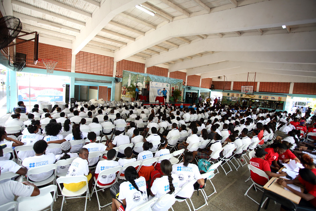 St joseph secondary school students gathered in their ass - St joseph convent port of spain trinidad ...