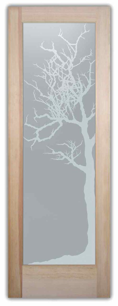 Obscure privacy glass bathroom doors winter tree custom - Obscure glass windows for bathrooms ...
