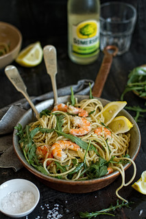 Lemon-rucola-shrimp spaghetti | by bognarreni