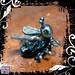 Pendant Silver Dichroic Glass Bug Peridot Eyes 02