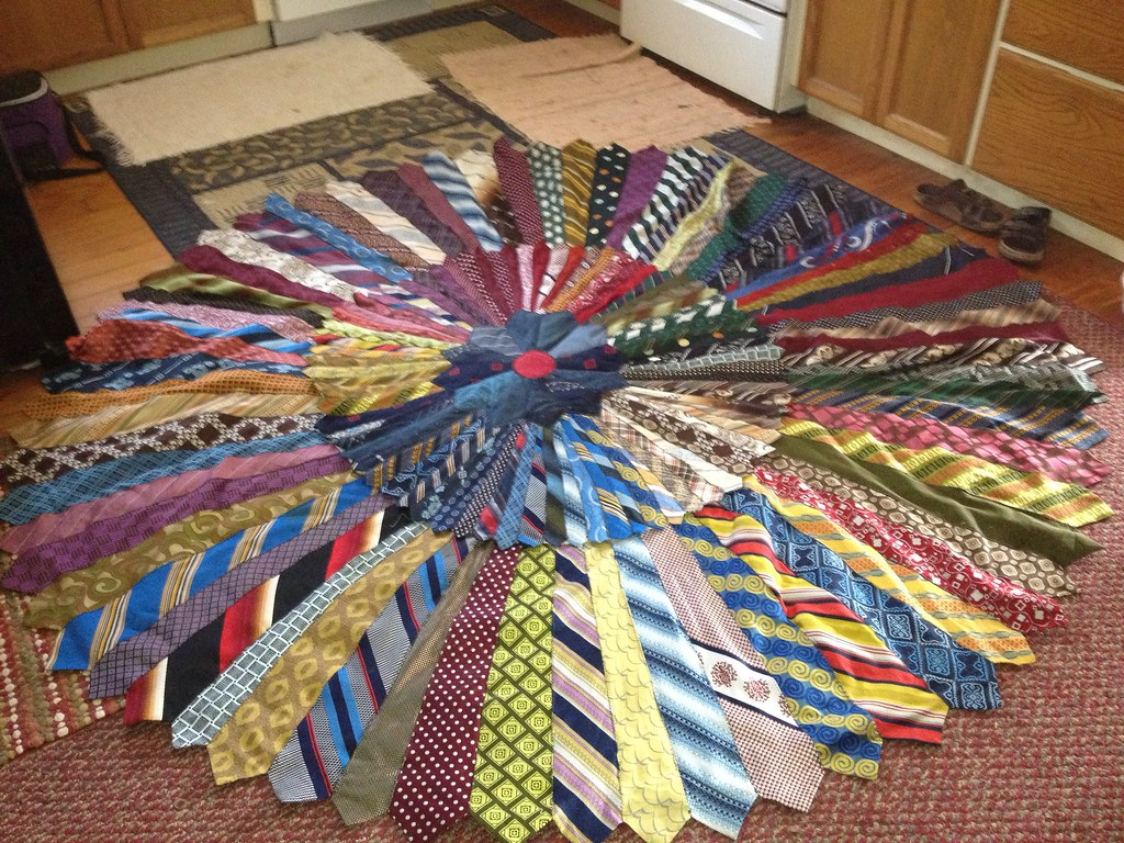 Necktie rug | Rug made with around 80 polyester 1970's ...