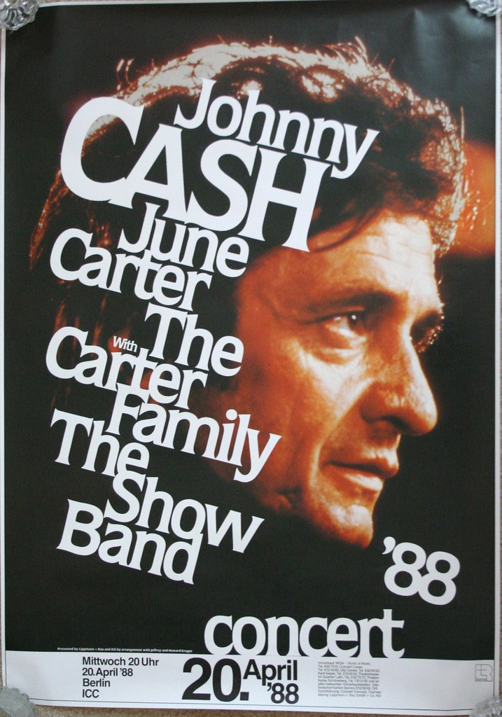 johnny cash 1988 concert poster original poster from the m flickr. Black Bedroom Furniture Sets. Home Design Ideas