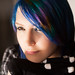 Sabrina Signs : pretty teen girl with bright eyes and blue hair