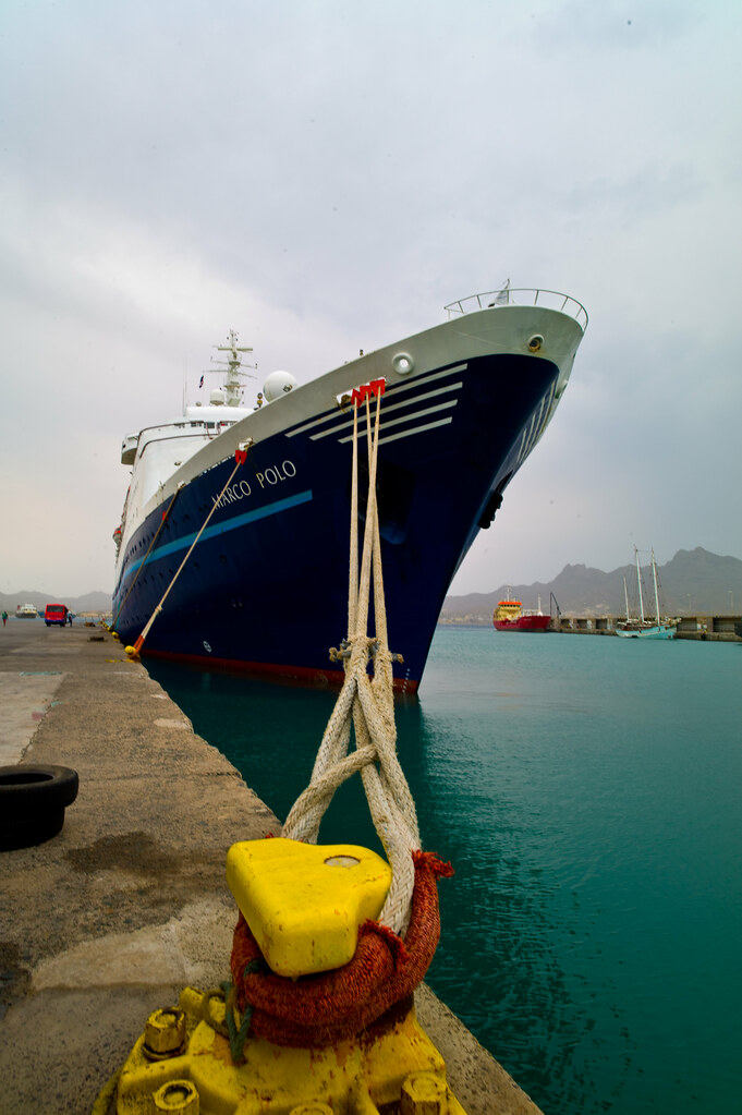 "Yellow bollard   Cruise ship ""Marco Polo"" (one of the so ..."
