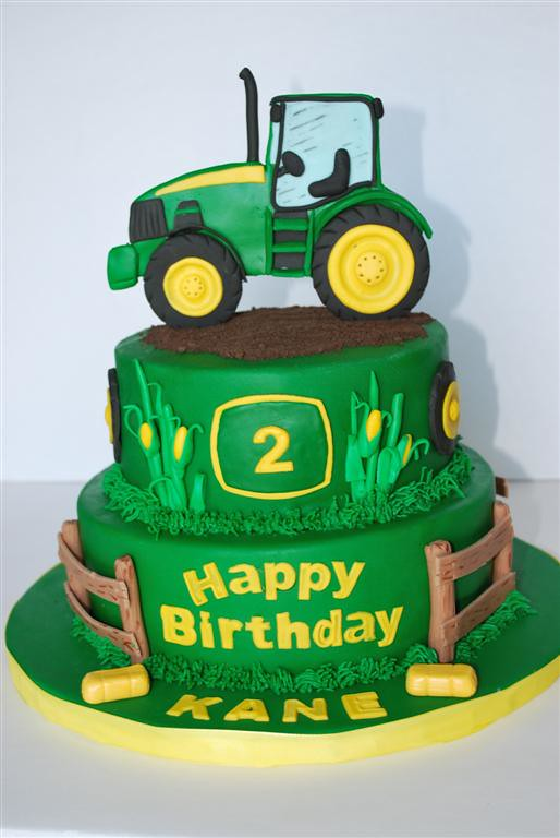 John Deere Theme cake | Fondant tractor in 2D for cake ...