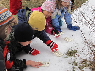 a group of children examine tracks in the snow