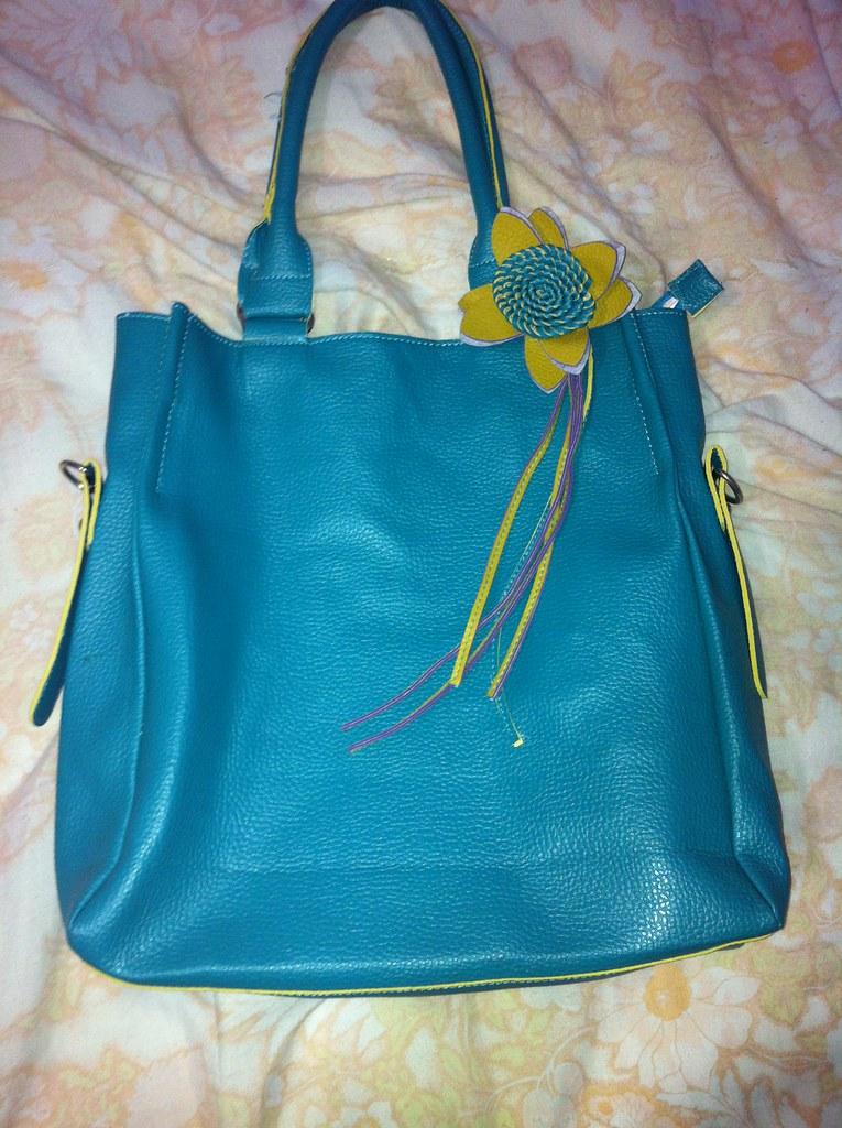 Bolsa Feminina Azul Turquesa : Bolsa tipo sacola de couro azul turquesa r reais com