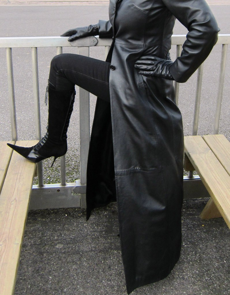 Sarah in Leather Coat and RoSa Lace-up Stiletto Boots