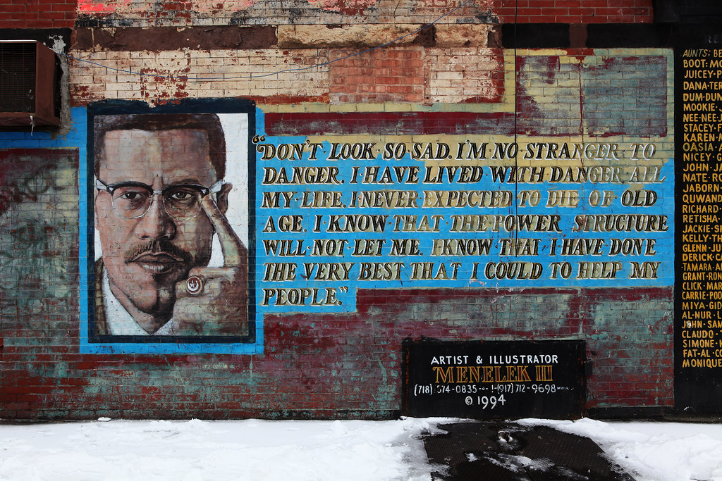 Malcolm x brooklyn mural don 39 t look so sad i 39 m no for Malcolm x mural