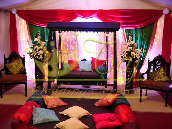 Mehndi Jhoola Decoration : Beautiful mehndi stage jhoola red and green greenford flickr