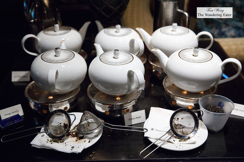 Assortment of tea pots steeping