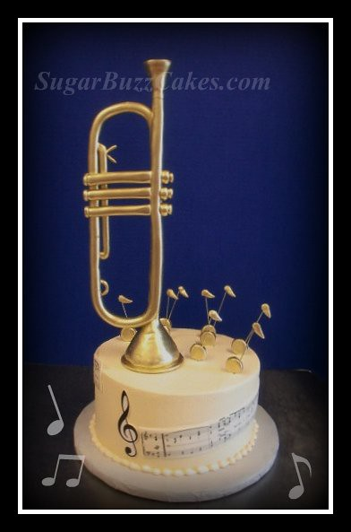 Trumpet Grooms Cake Hand Sculpted Trumpet Painted With