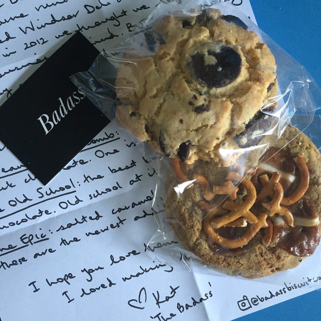 a delightful collection of biscuits with a handwritten note