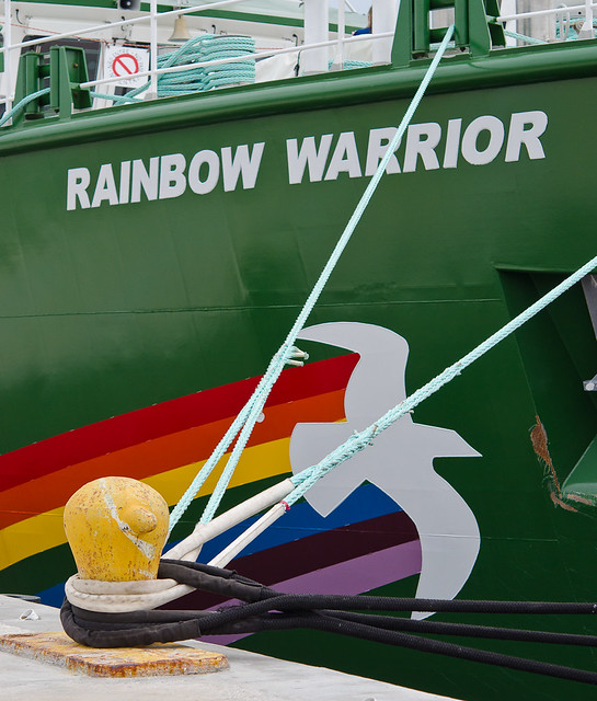Moored: Greenpeace Logo On The Rainbow Warrior