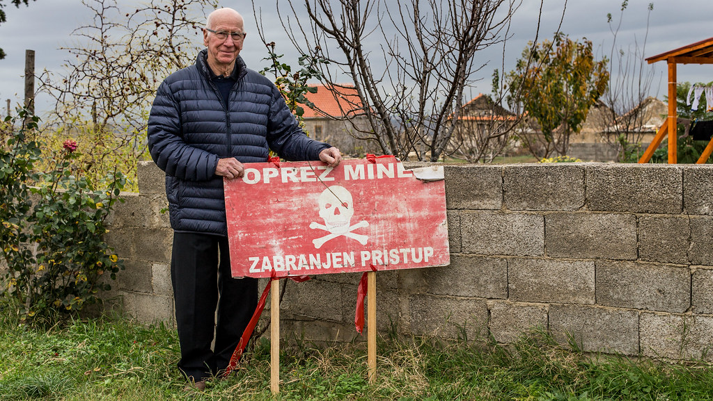 Find a Better Way charity founder Sir Bobby Charlton during a visit to a minefield in Croatia in 2014