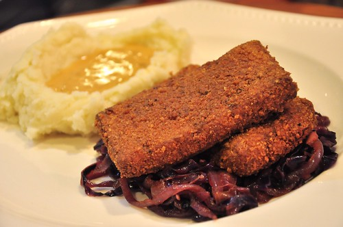 Buttermilk Tofu, Braised Red Cabbage, Mashed Potatoes and Gravy (w/recipes) | by tofu666