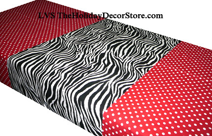 Red polka dot tablecloth material minnie mouse brown zebra for Zebra print and red bathroom ideas
