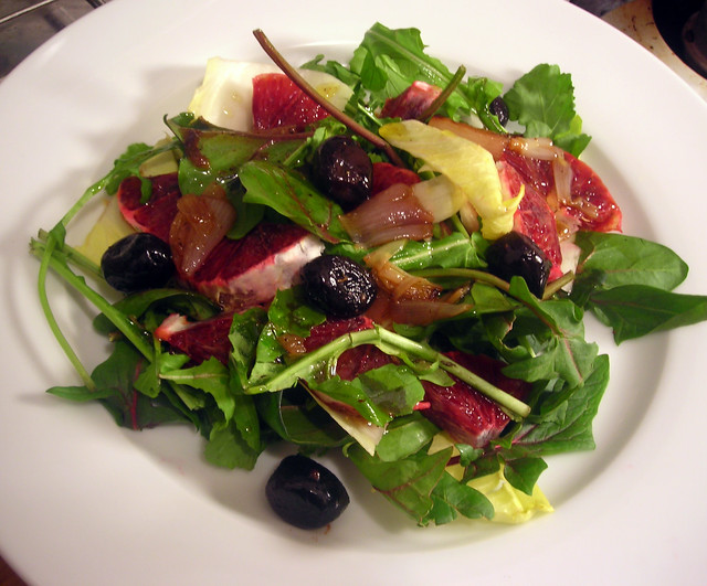 endive and Bordeaux spinach salad, with oil-cured olives, blood orange ...