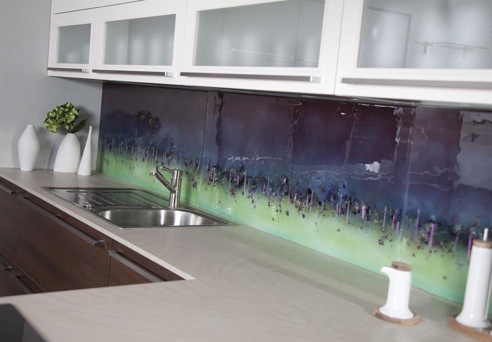 Purple Cityscape Fused Glass Splashback Morpheus Glass