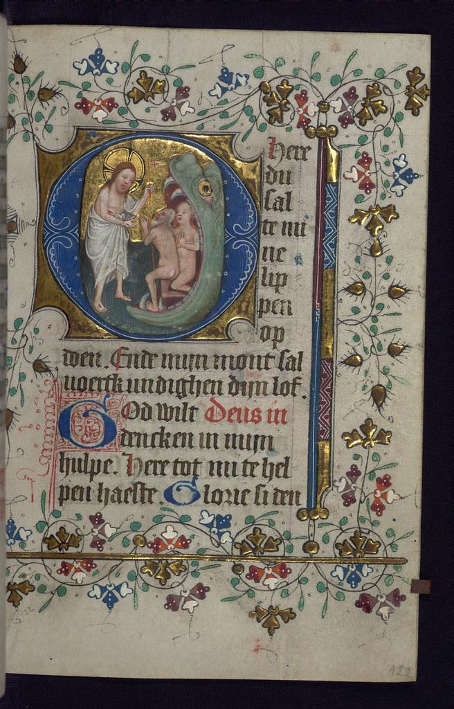 Illuminated manuscript, Book of Hours in Dutch, Harrowing ...