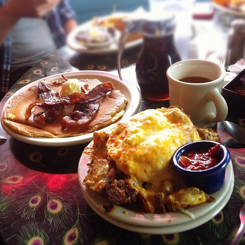 One pancake 'on the side'. Monster breakfast. Done. | by Phil Hawksworth