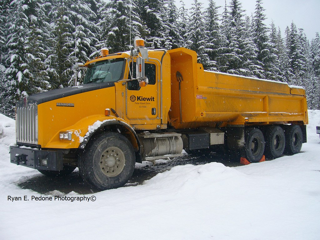 Kiewit Kenworth T800 tri drive dump truck near Whistler, B ...