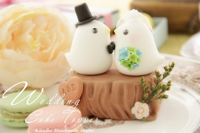 Wedding Cake Topper Love Bird With Stump