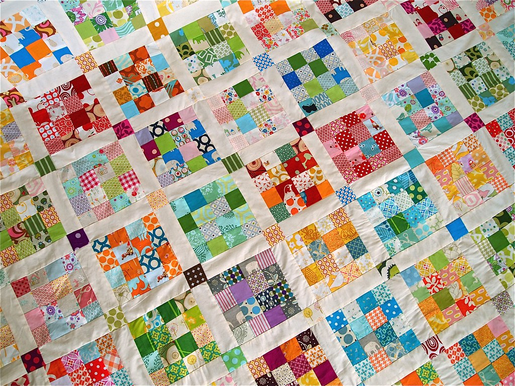 Postage Stamp Quilt Detail After Three And A Half Years
