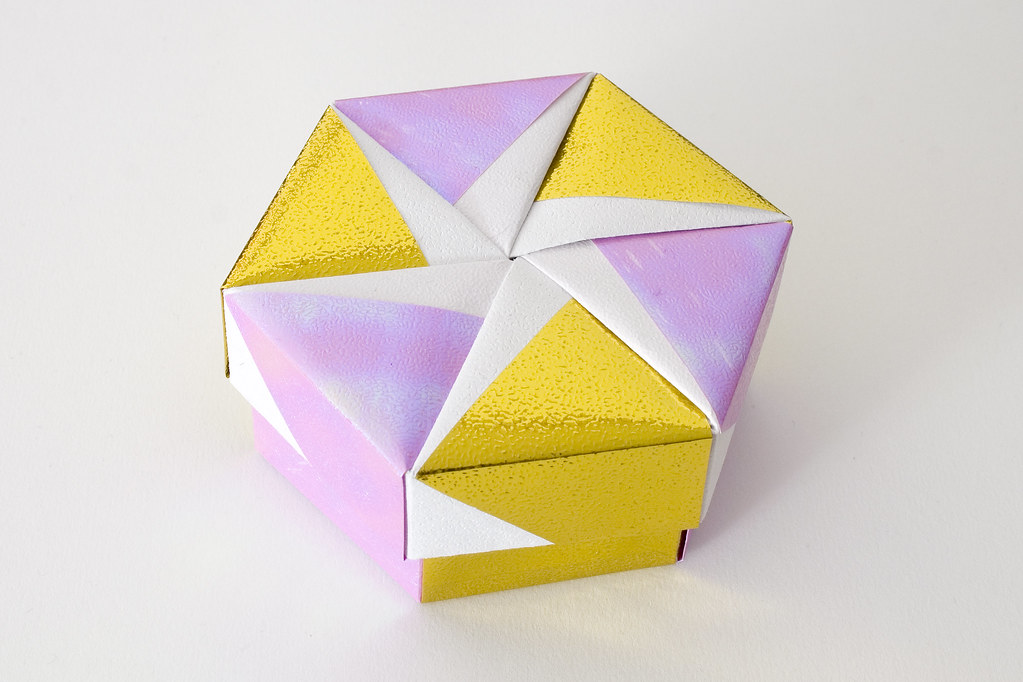 hexagonal origami box with lid 10 part of a set