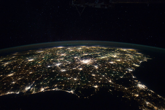 Southeastern usa at night nasa international space for Space station florida