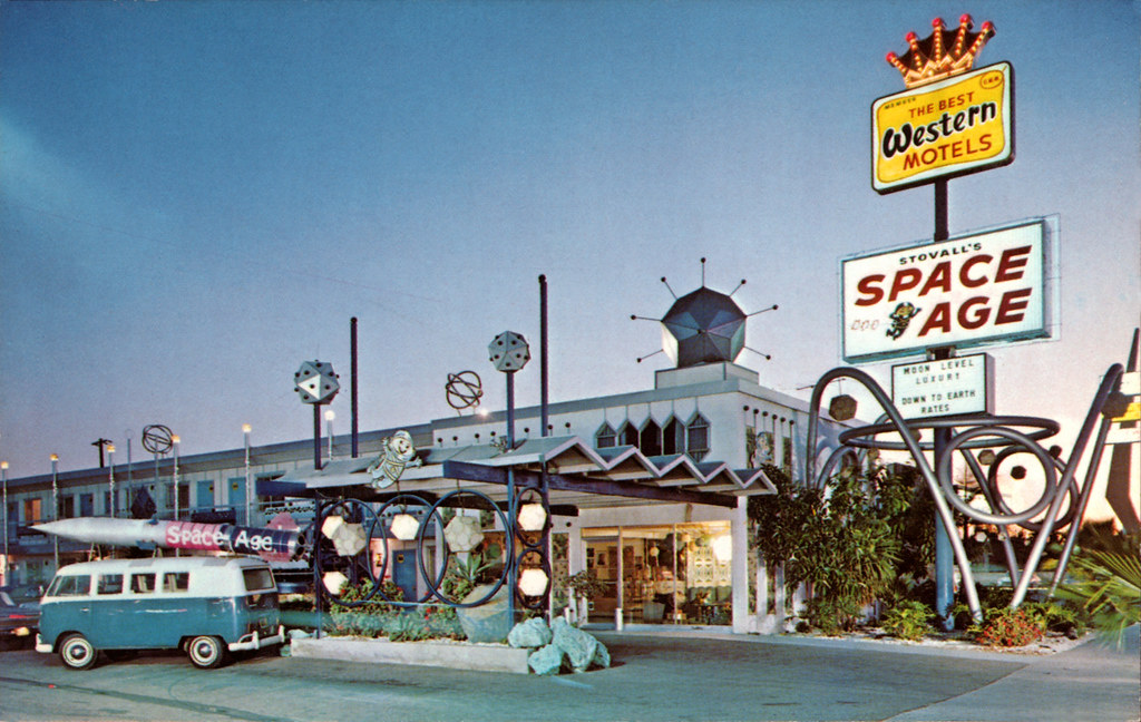 Vintage Beach Postcard Stovall's Space Age Lo...