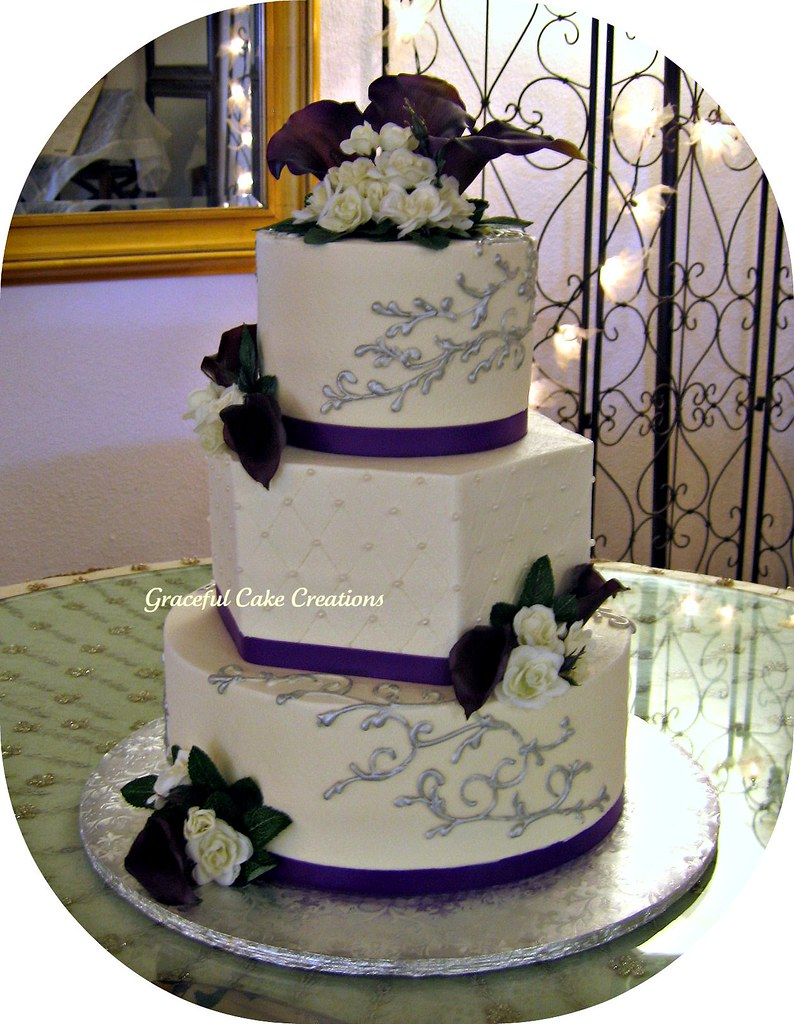 purple white and silver wedding cakes ivory purple and silver wedding cake grace tari flickr 18927