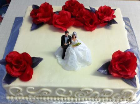 One Layer Square Wedding Cake With Red Silk Roses Willi