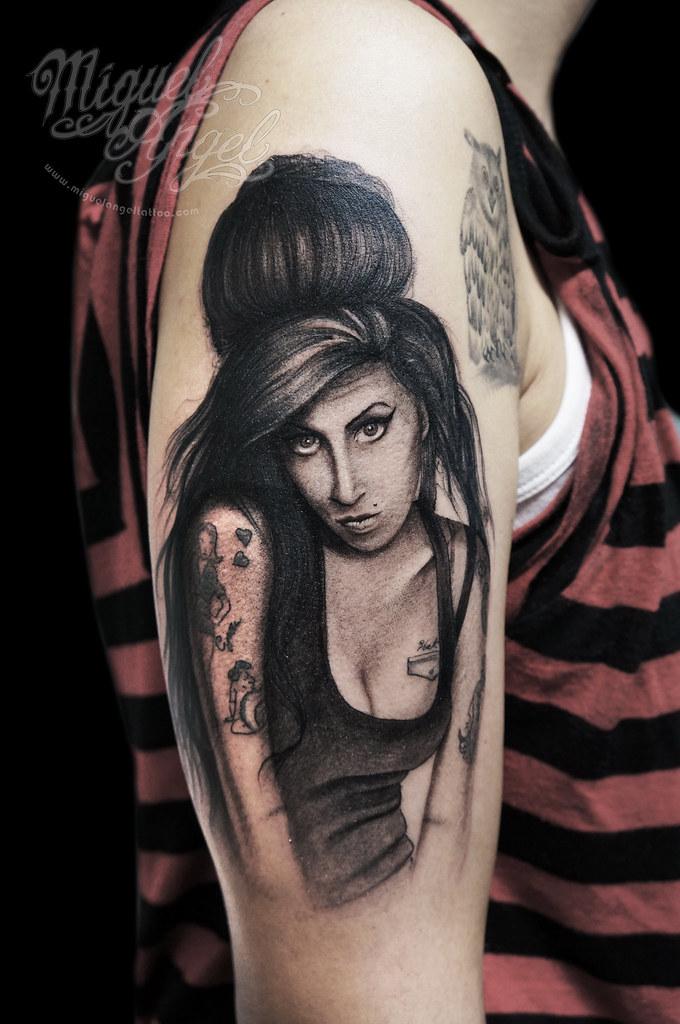 Amy Winehouse portrait tattoo | Miguel Angel Custom Tattoo A ... Amy Winehouse