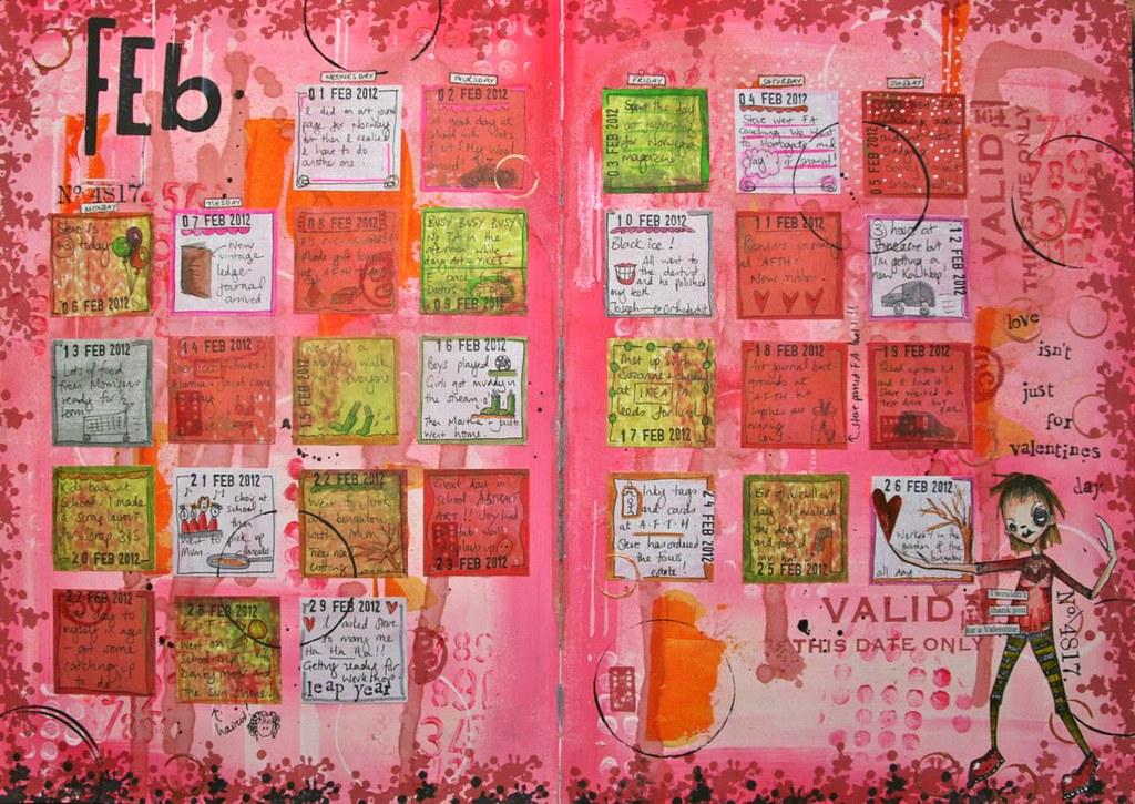 Calendar Art Journal : Art journal calendar february finished
