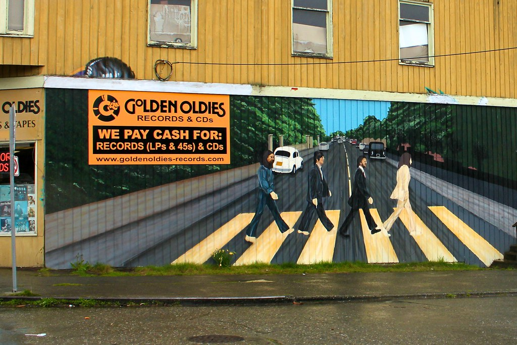 beatles 39 abbey road wall mural on the wall of golden