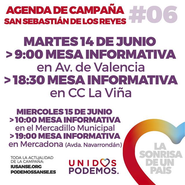 Agenda de Campaña #UnidosPodemos San Sebastián de los Reyes para las elecciones del 26J - Días 14 y 15 de Junio
