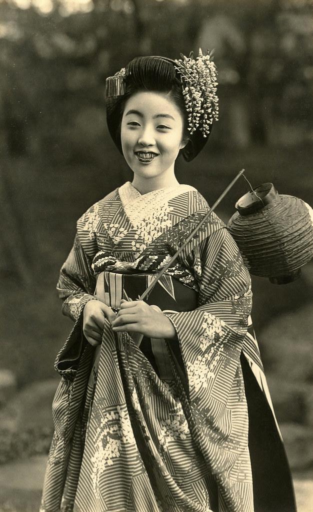 Maiko Teru With A Festival Lantern 1930s Teru Wearing A