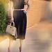 sheer navy dress - big hair-brahmin bag-leopard accessories