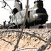 Razor Wire Surrounding a Chinook Helicopter on the Airfield at Camp Bastion, Afghanistan