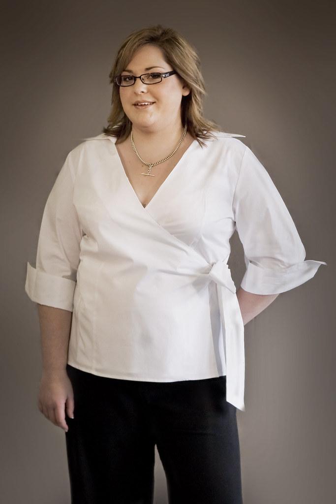 Plus size classic wrap shirt | www.asiamfashion.com