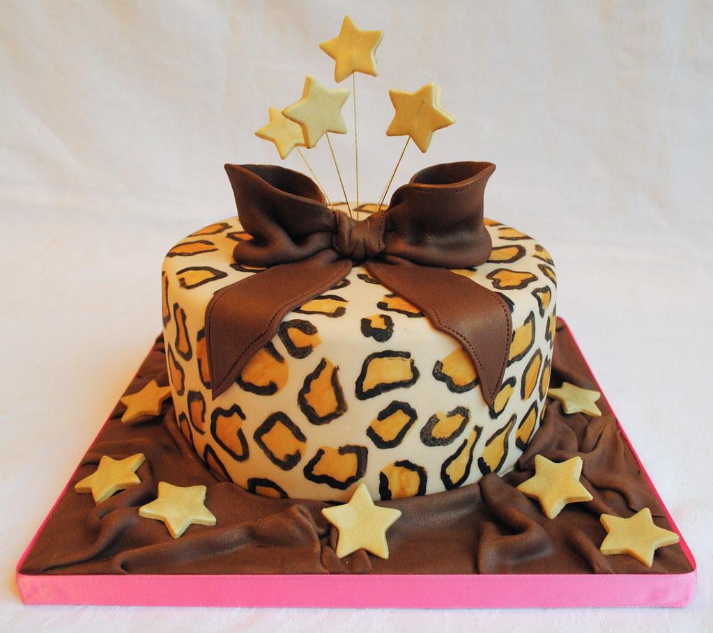 Leopard Design Birthday Cake : Leopard Print Star Burst Birthday Cake www ...